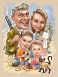 Семейный шарж по фотографии