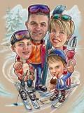 Семейный шарж на лыжном курорте