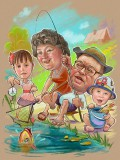 Дедушка на рыбалке с внуками