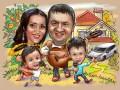 Шарж семейный, родители с детьми